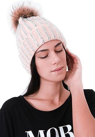 0de33659f9b MIA Womens Ladies Diamante Diamond Fur Pom Pom Beanie Winter Hat Celeb  (Pink)  Amazon.co.uk  Clothing