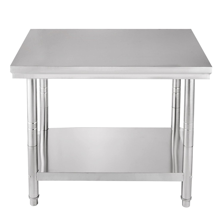 Hopopular Food Prep Work Table 24 x 30 Inch Stainless Steel Work Table 2 x 2.4 FT Kitchen Work Table Commercial Food Work Table (24 x 30 inch)
