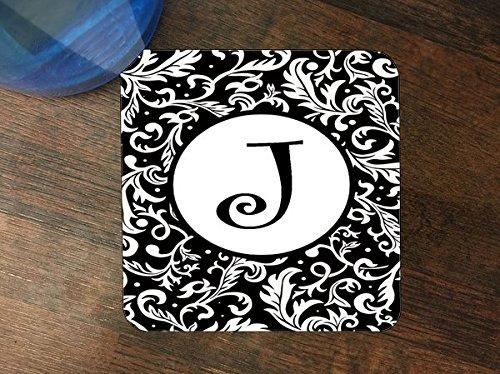Letter J Initial J Pattern Monogram Silicone Drink Beverage Coaster 4 Pack ()