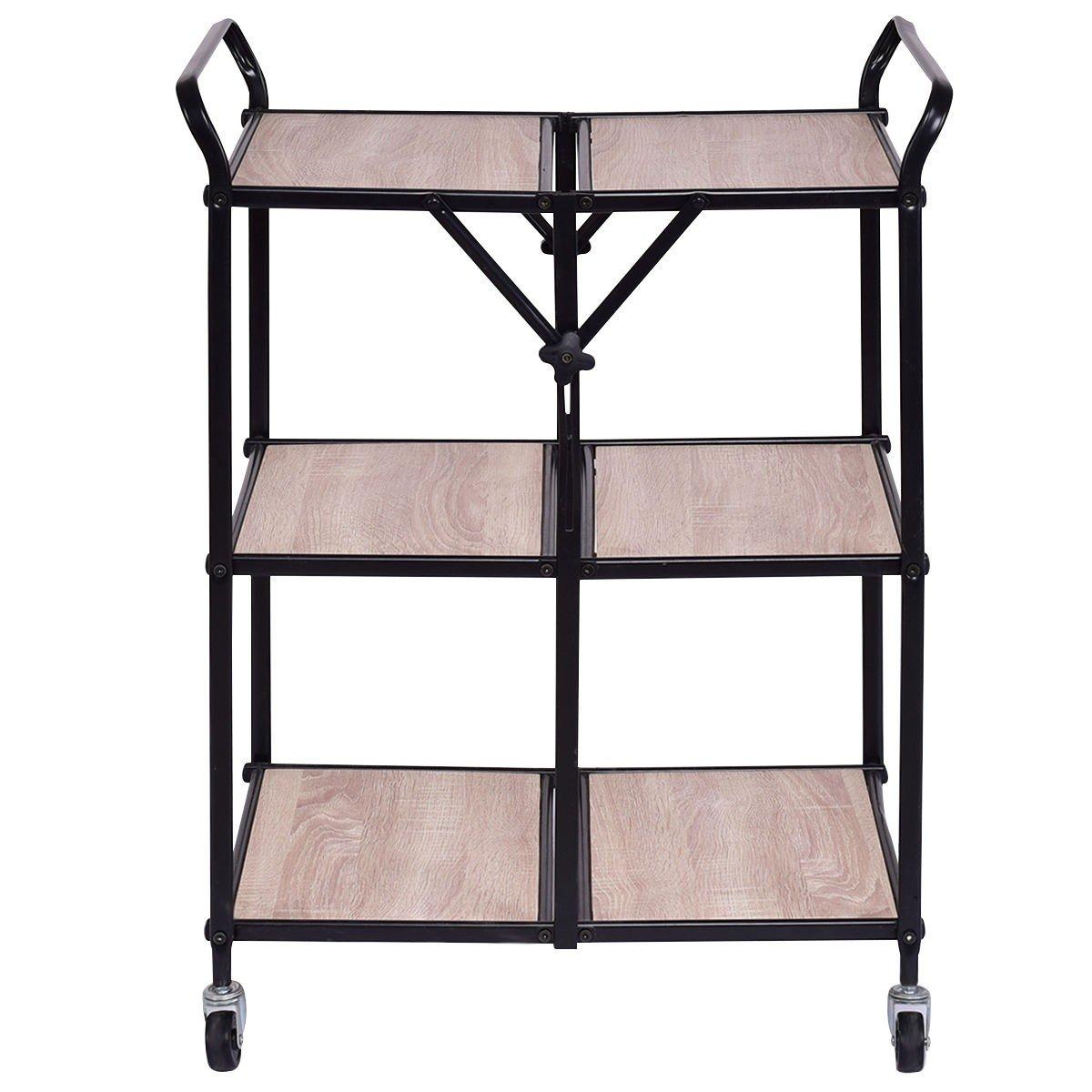 3-Tier Kitchen Folding Storage Shelves Rolling Trolley Organizer Serving Us Portable Durable CHOOSEandBUY