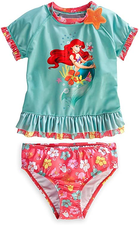 Disney The Little Mermaid Ariel Girls Rash Guard Swimsuit Set