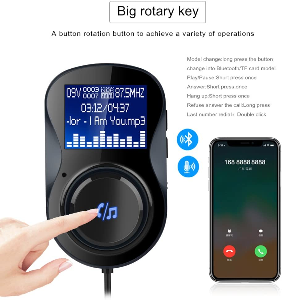 Bluetooth Car Adapter,Bluetooth FM Transmitter for Car Mp3 Player,Radio Adapter with 1.44 Display Double USB Charge Built-in Mic Hands-Free Call Support TF Card