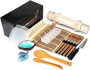Delamu Sushi Making Kit, 20 in 1 Sushi Bazooka Roller Kit with Chef's Knife, Bamboo Mats, Bazooka Roller, Rice Mold, Temaki Sushi Mats, Rice Paddle, Rice Spreader, Chopsticks, Sauce Dishes, Guide Book