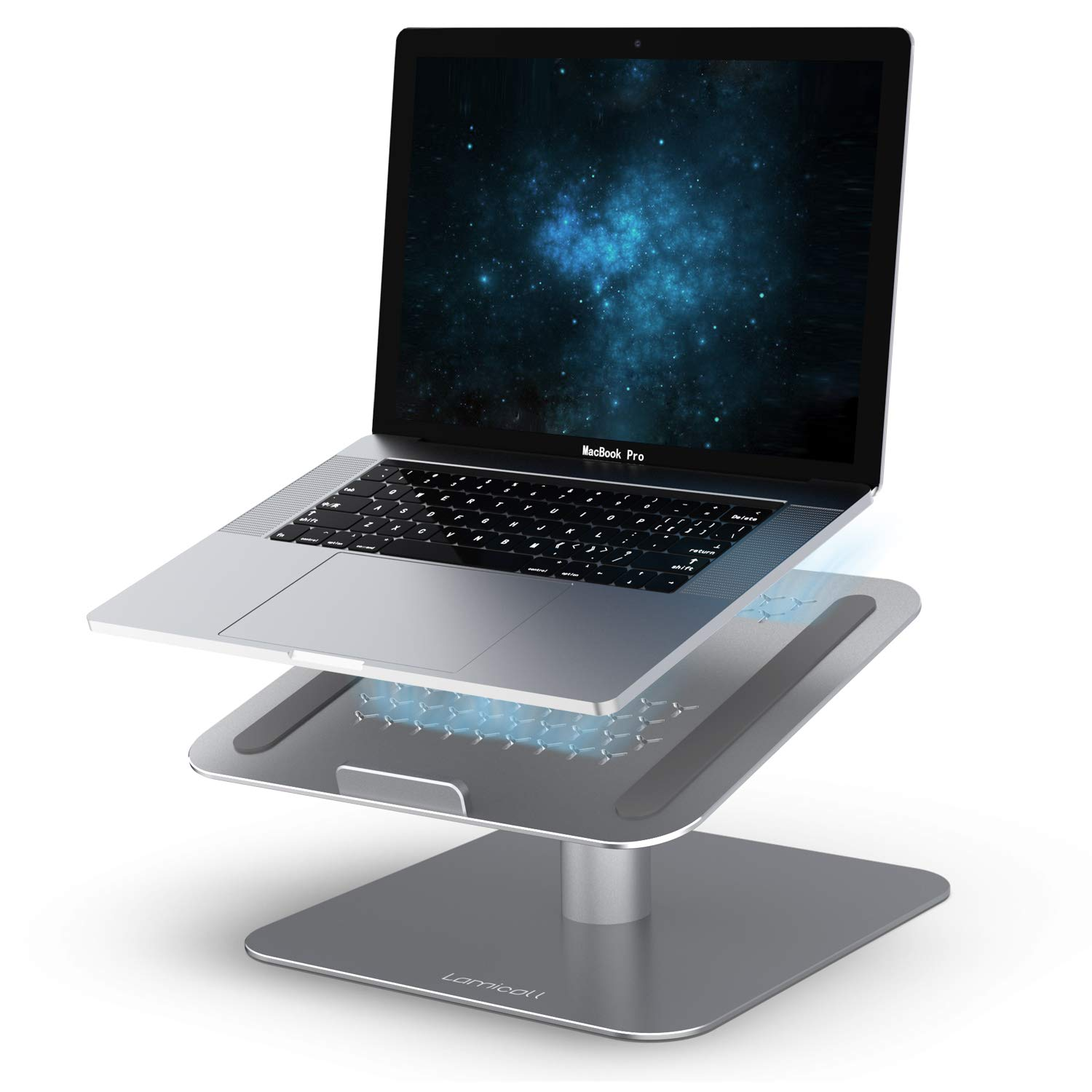 Laptop Computer Stand, Lamicall Laptop Holder : Ventilated Laptop Riser for Desk, 360 Rotating, Compatible with MacBook Air Pro, Dell XPS, HP, ASUS, Lenovo More Laptop Notebooks - Space Gray by Lamicall