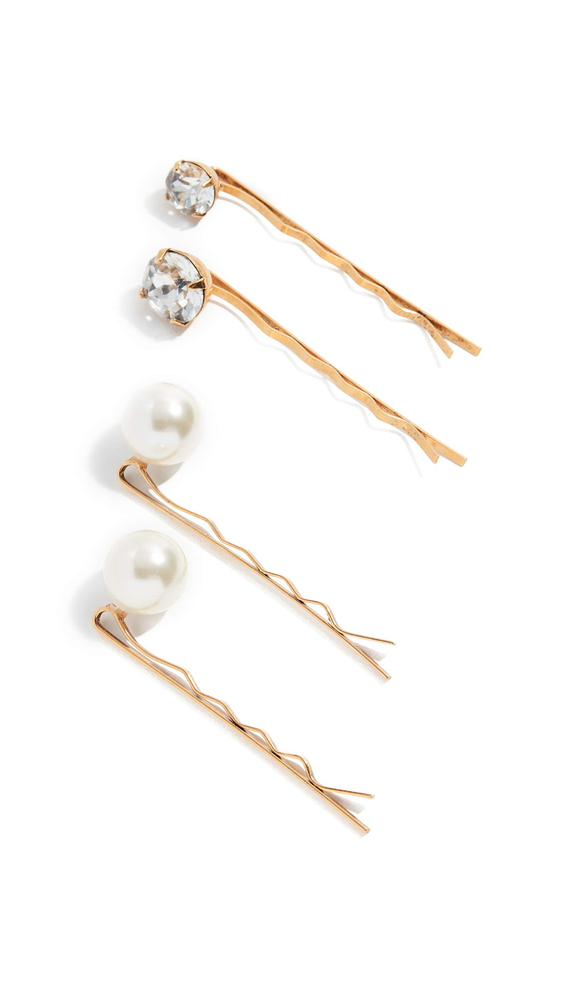 Jennifer Behr Women's Gigi Bobby Pins set of 4, Crystal Antique Gold, One Size by Jennifer Behr