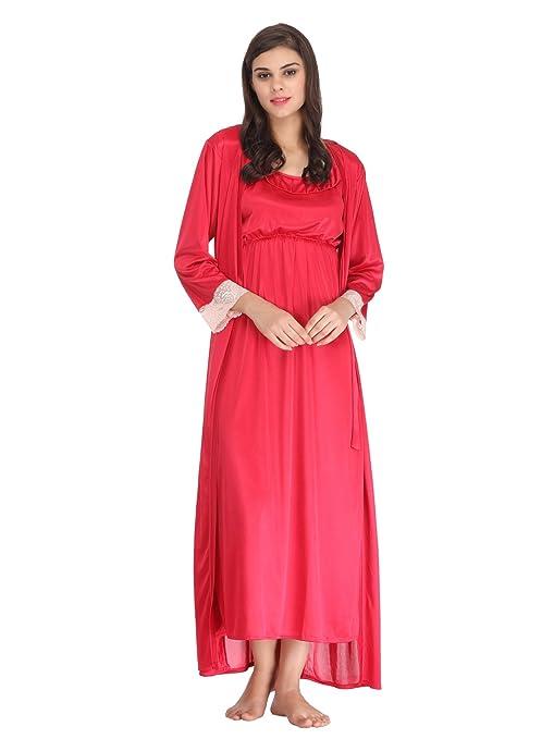 c23732479c Clovia Set of 2 Pc Satin Nightwear Women s Solid Maroon Top Shorts ...