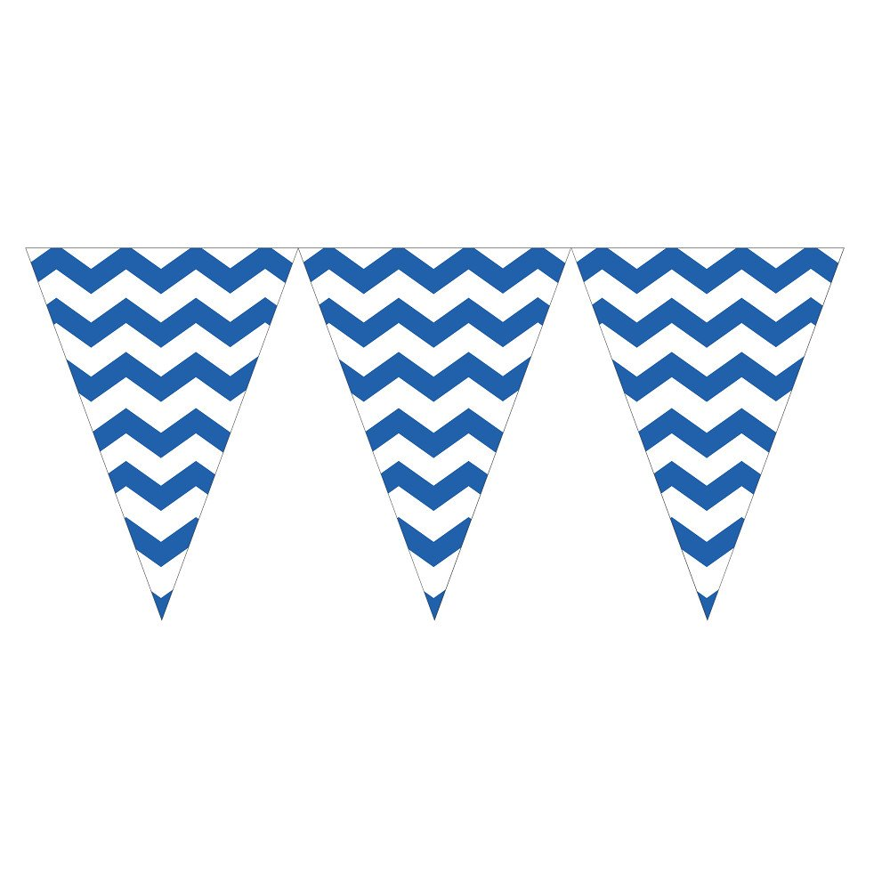 Creative Converting 299258 Celebrations 12 Count Chevron Flag Banner, True Blue