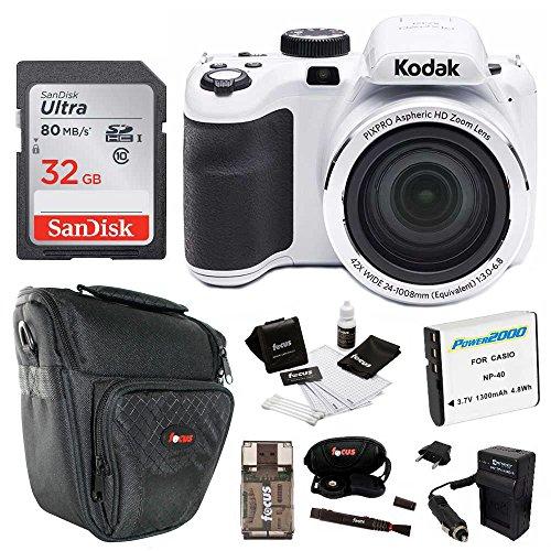 Kodak PIXPRO Astro Zoom AZ421 16 MP Digital Camera with 42X Optical Zoom and 3'' LCD Screen (White) 32GB Bundle by Kodak