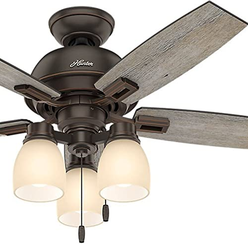 Hunter Fan 44 inch Casual Ceiling Fan in Onyx Bengal with LED Lights Renewed