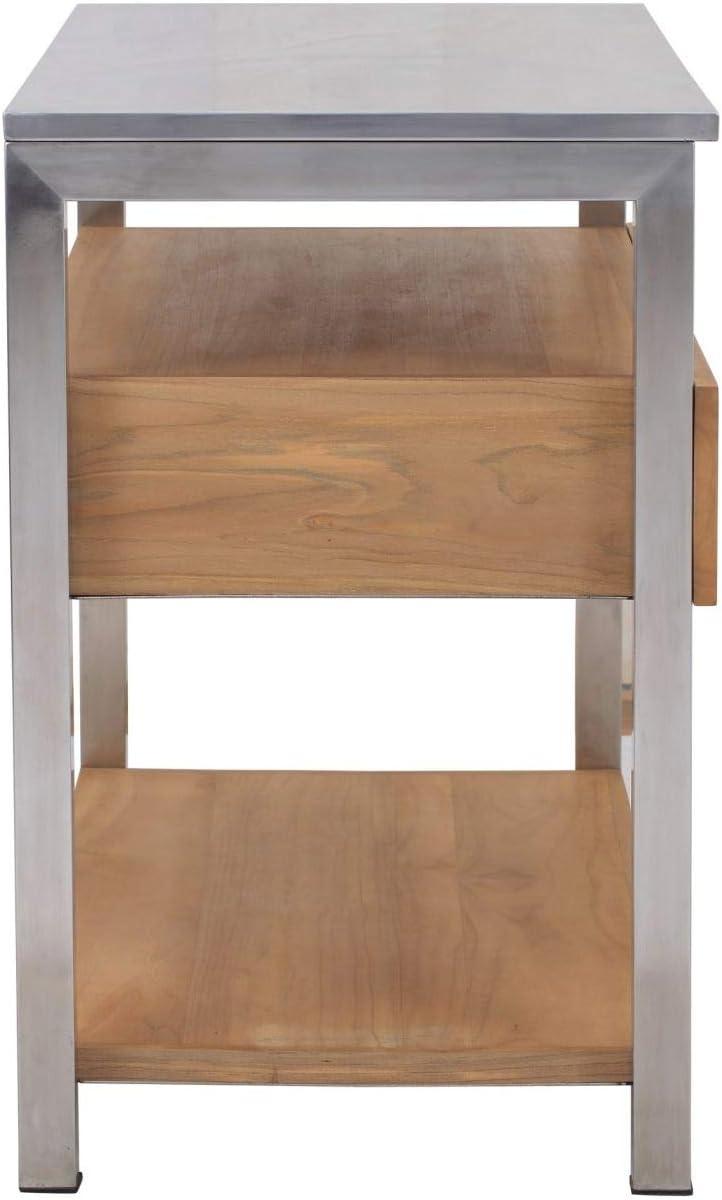 Teako Design 135 cm Arbeitstisch Rivera mit Edelstahl 3 Schieber Outdoork/üche