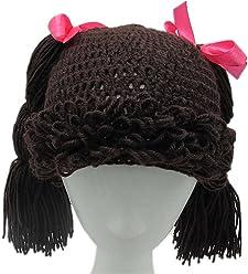 5f226aecbdb BIBITIME Knitted Pigtail Wig Beanie Handmade Women Girl s Braid Hat Bowknot  Cap