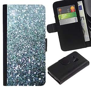 KLONGSHOP / Tirón de la caja Cartera de cuero con ranuras para tarjetas - Sparkling Bling Platinum - Samsung Galaxy S3 MINI NOT REGULAR! I8190 I8190N