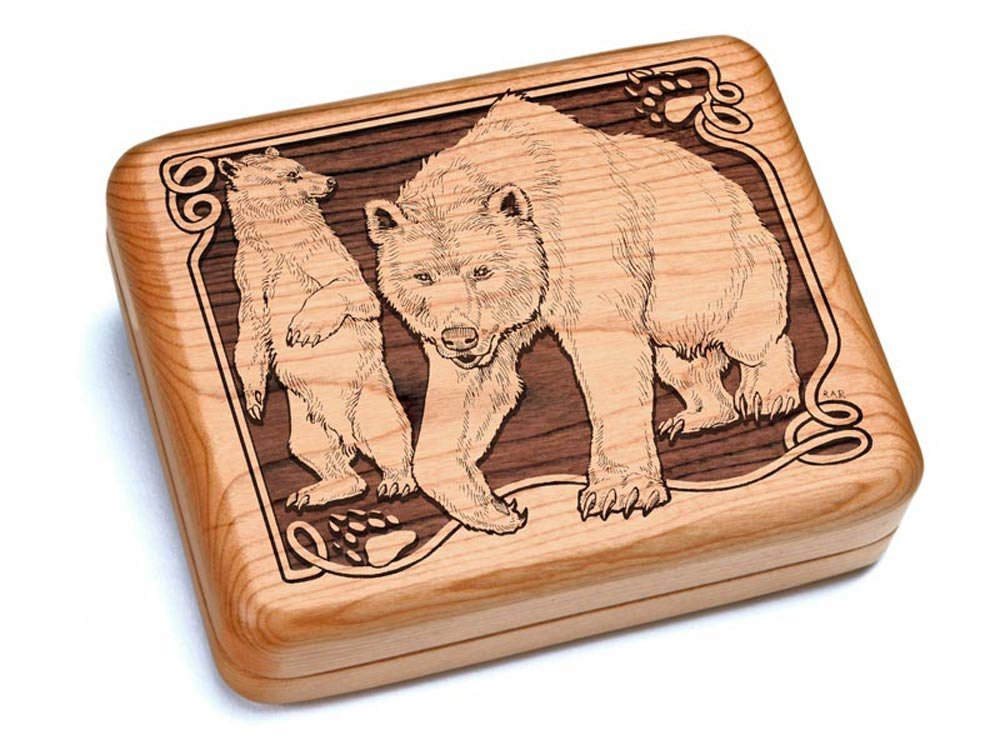 6x5'' Box With Black And Burlwood Knife - Bear/Paw