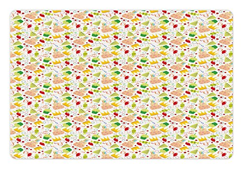 Ambesonne Birthday Pet Mat for Food and Water, Doodle Style