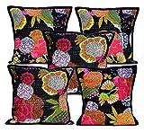 5Pcs-100Pcs Amazing India Kantha Stitch Floral Work Black Square Home Decor Cushion Covers Wholesale Lot