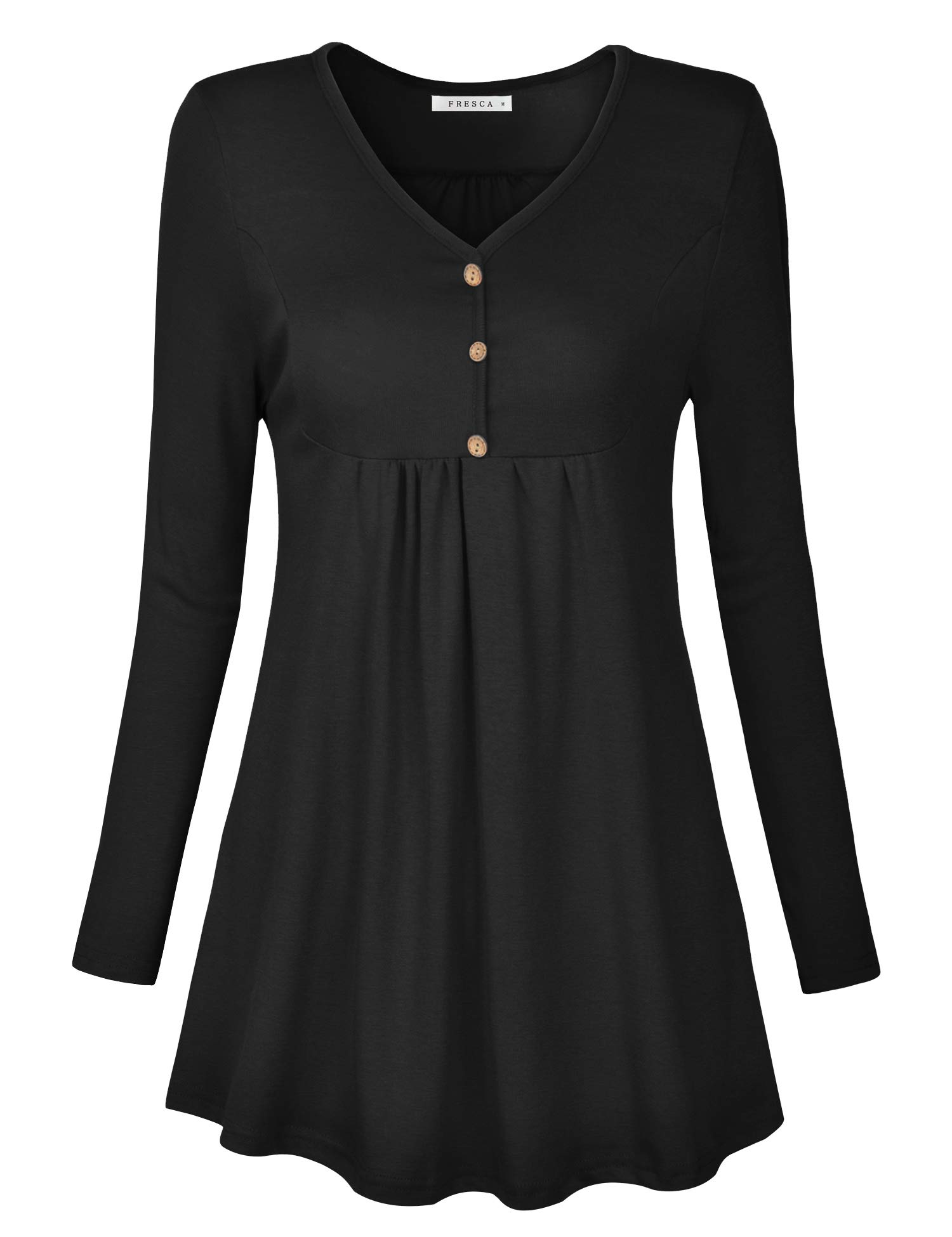 Fresca Women\'s Elegant Henley V-Neck Button up Tunic Stretchy Curved Hem Swing Ruffle Blouses Ruched Casual T-Shirts Blouse Black Medium