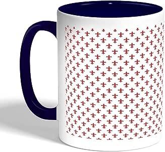 كوب سيراميك للقهوة بتصميم رسوم زخرفية ، لون ازرق