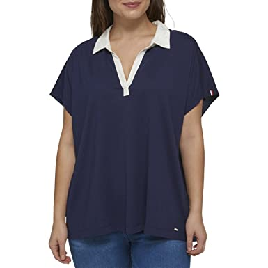 d34d1b5882be3 Tommy Hilfiger Women s Plus Size Polo Top - Blue -  Amazon.co.uk ...