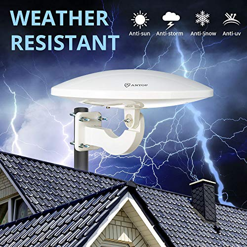 ANTOP 360° Omni-Directional Amplified Outdoor HDTV Antenna 65 Miles Range with Smartpass Amplifier & Built-in 4G LTE Filter Fit Home/RV/Attic Use (33ft Coaxial Cable, 4K UHD Ready) by ANTOP (Image #3)