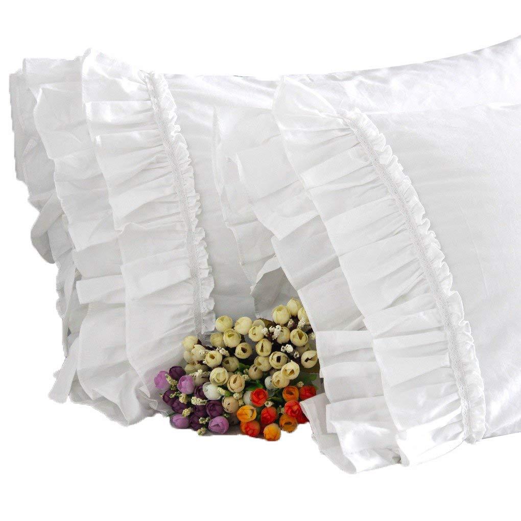 Queen's House White Ruffles Pillowcases Queen Size Shams Set of 2-O