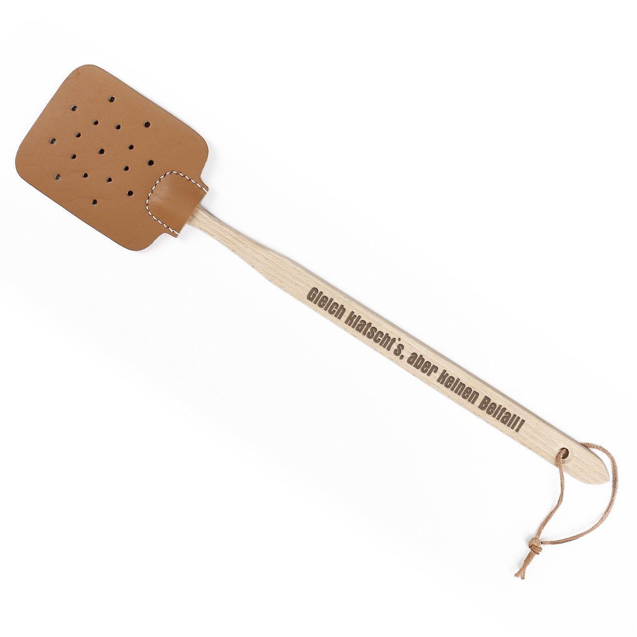 Cera & Toys® Fliegenklatsche Leder mit Holzgriff mit Spruch - Gleich Klatscht's Cera & Toys®