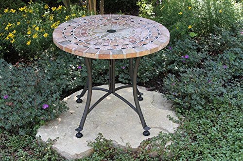 Outdoor Interiors Sandstone Mosaic Accent Table with Metal Base, 24-Inch, Charcoal (Outdoor Side Table Mosaic)