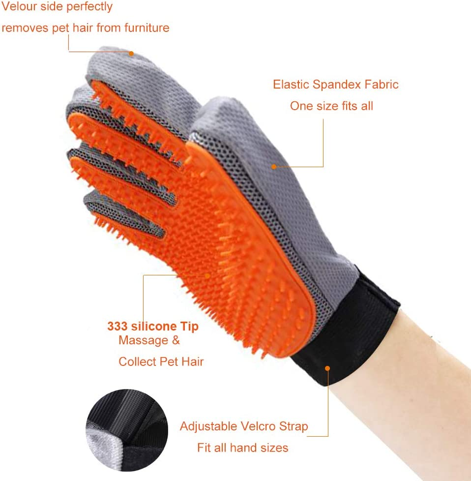 Dog Grooming Gloves Cat Glove Brush- Pet Hair Remover Mitt Glove with Enhanced Five Finger Design for Dog /& Cat with Long /&Short Fur KAXYEW Efficient Dog Deshedding Glove Upgrade Version Pair Orange Color:Right+Left
