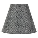 3x5x4 Granite Grey Burlap Candelabra Clip-on Lampshade By Home Concept - Perfect for chandeliers, foyer lights, and wall sconces -Small, Grey