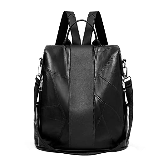 74188fbf00 Women Soft Leather Backpack Tote Bags Large Capacity Travel Bag Laptop  Backpack (Black)