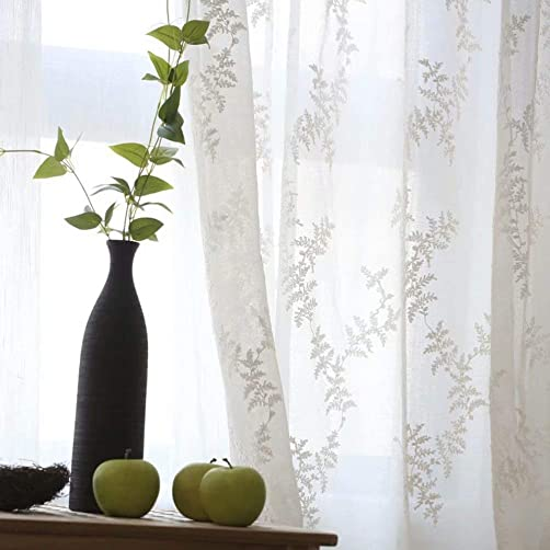 Leadtimes Linen Sheer Decorative Curtains 102 Inch Length Leaves Embroidered Customized Panels Grommet Voile Sheer Window Drapes White