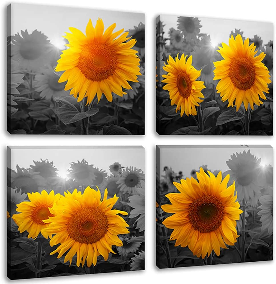 Rustic Yellow Sunflower at Sunshine Wall Art Canvas Prints 4 Pieces Black and White Flowers Painting Pictures for Farmhouse Kitchen Decor, Framed 12x12 Inches