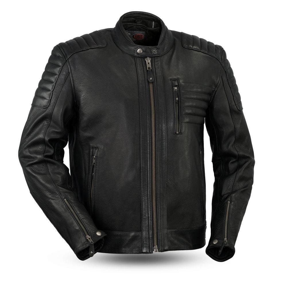 First Mfg Co Diamond Mens Leather Jacket Black Large