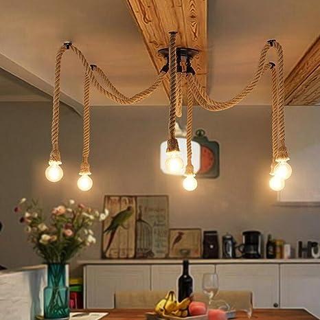 Plafoniera retrò fai da te Corda a sospensione in stile classico Lampade a  sospensione corda in stile industriale Vintage Multiplo regolabile Lampada