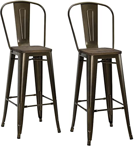 Dhp Luxor 30 Metal Wood Seat Antique Bronze Set Of 2 Bar Stool Furniture Decor