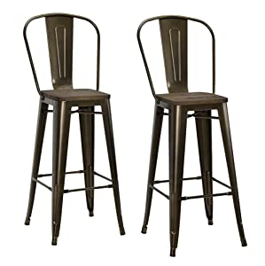 """DHP Luxor Metal Counter Stool with Wood Seat and Backrest, Set of two, 30"""", Antique Bronze"""