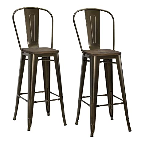 DHP Luxor Metal Counter Stool with Wood Seat and Backrest Set of two 30u0026quot  sc 1 st  Amazon.com & Amazon.com: DHP Luxor Metal Counter Stool with Wood Seat and ... islam-shia.org