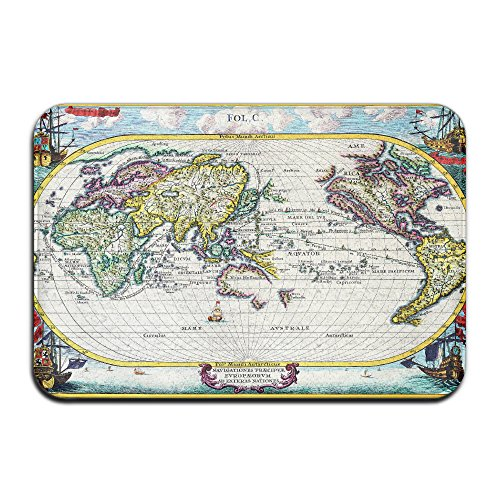 Embroidered Pique Sham (Vintage Navigation Chart Non Slip Washable Cozy Durable Doormat For Living Room Bedroom (23.6