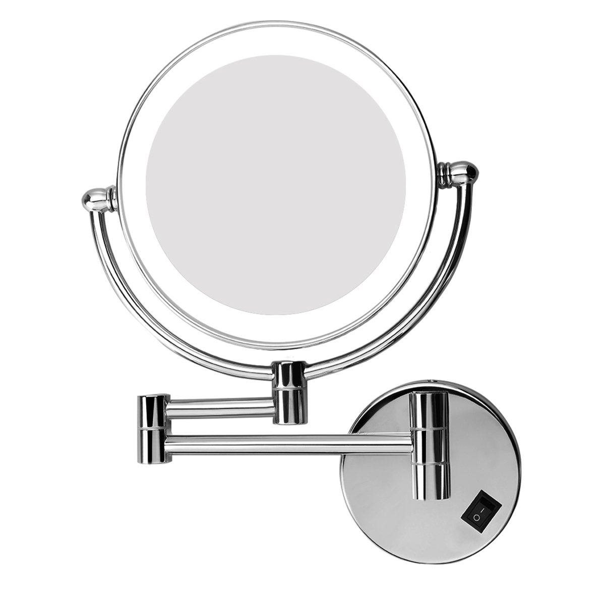 Excelvan 7x Magnification Wall Mount MakeUp Vanity Mirror with LED Light, Polished Chrome Finish and 8 Inch Double Sided Swivel