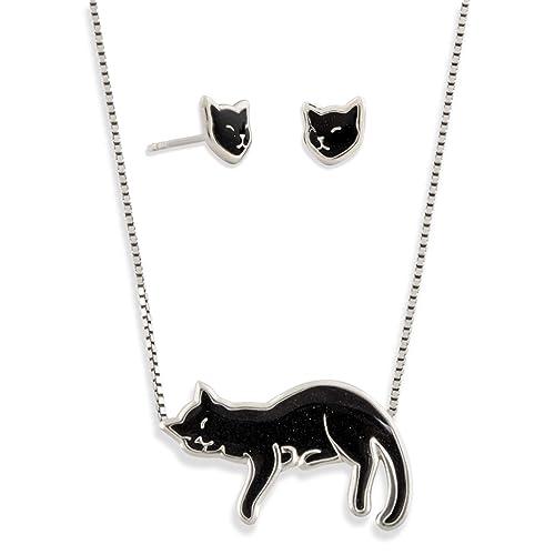 Amazon.com: Juego de collar y pendientes de gato de plata de ...