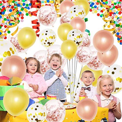 Rose Gold Birthday Decorations, Vita 70pcs Happy Birthday Banner Rose Gold Latex Foil Conffetti Balloons for Woman/Girl Birthday Wedding Anniversary Ceremony Baby Shower