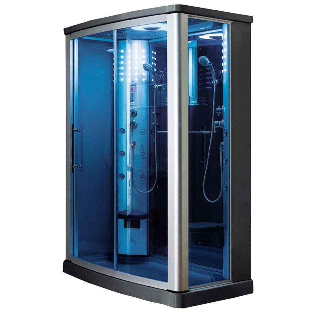 ARIEL WS-803L Steam Shower Enclosure in Blue Tempered Glass 55\