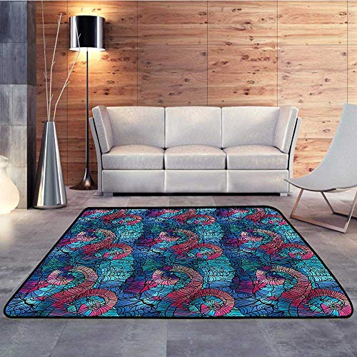 - Silky Smooth Bedroom Mats,Ombre,Mosaic Shell SwirlsW 63
