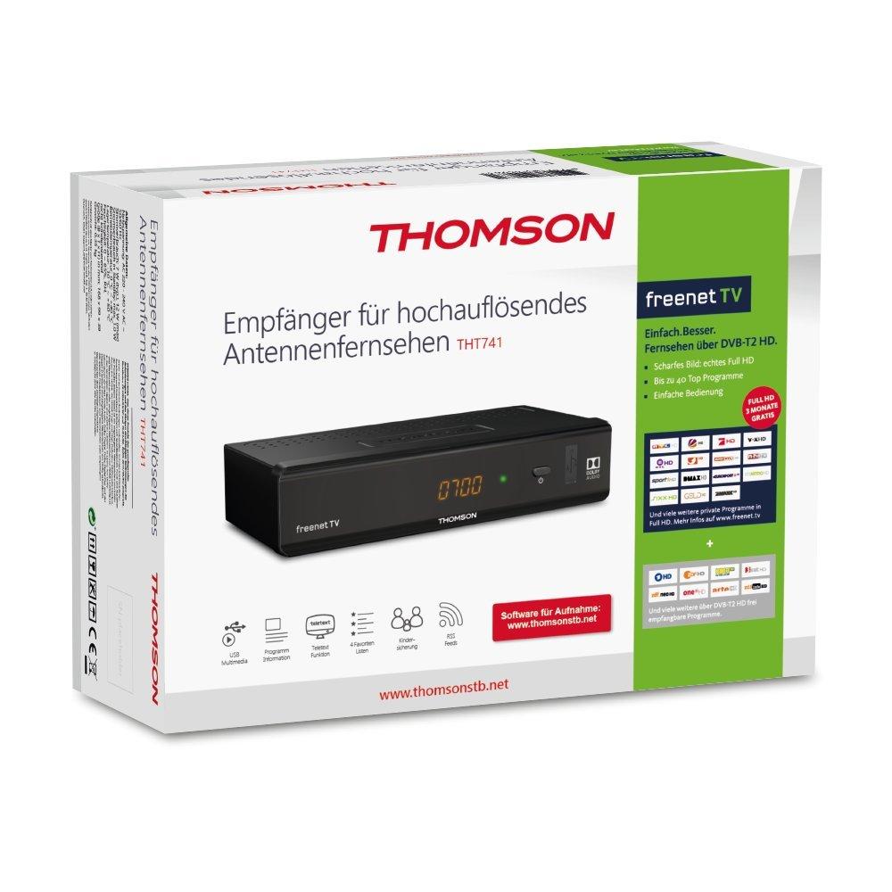 THOMSON THT740 DVB-T2 Receiver f/ür digitales Antennenfernsehen mit freenet TV【FullHD USB nur f/ür DE geeignet HDMI SCART 3 Jahre Garantie】schwarz