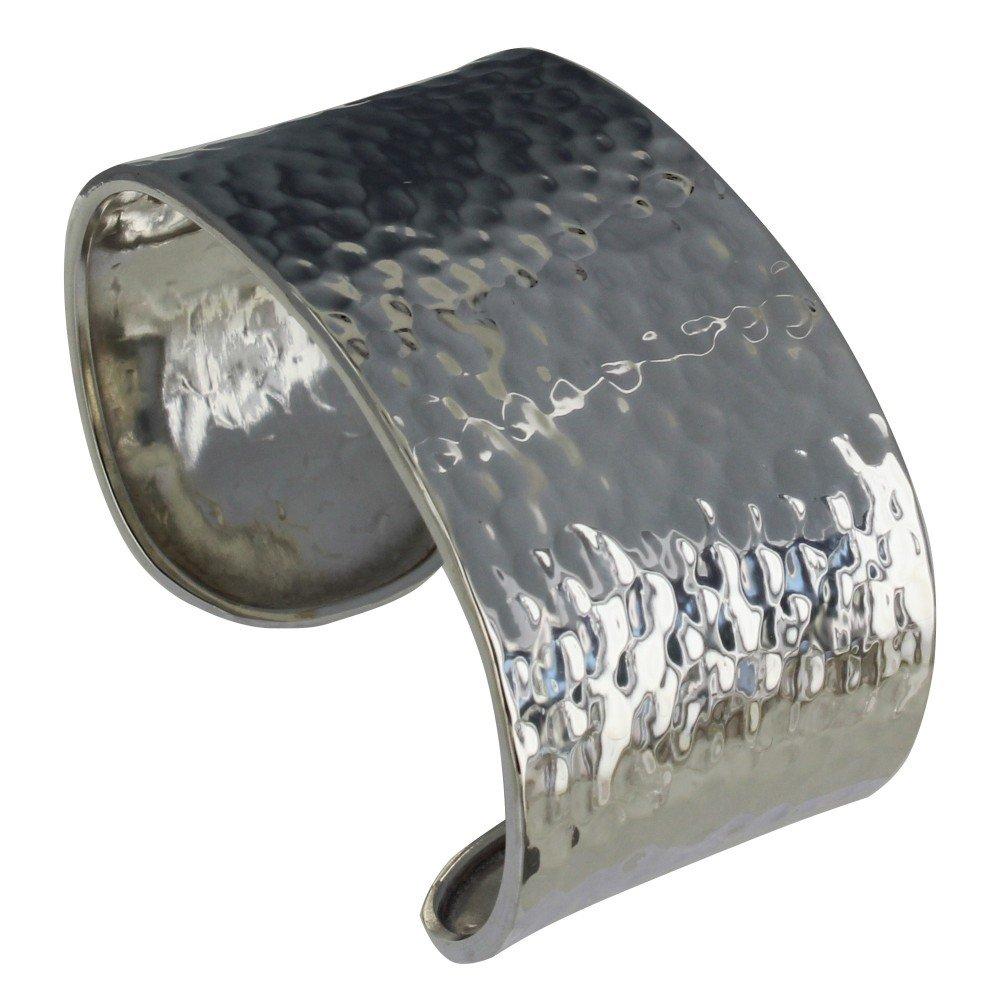 Les Poulettes Jewels - Sterling Silver Bracelet Flat Hammered