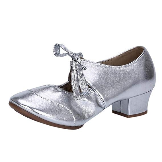 buy popular c8372 a44df LANSKRLSP Scarpe da Ballo Latino Donna Vintage Elegante Moda Dancing Rumba  Waltz Prom Ballroom Latin Ballet Dance Singles Shoes,Standard Ballroom Sala  ...