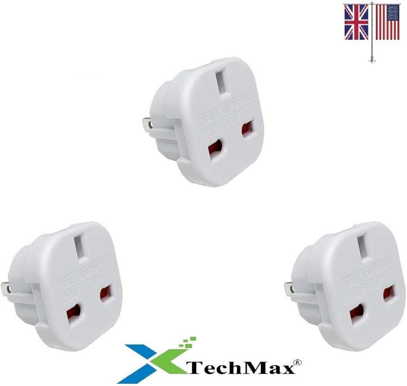 TechMax® Adaptador de Enchufe de Viaje de Reino Unido a Estados Unidos de 2 Pines (Plano) para EE. UU, Canadá, Australia, México, Nueva Zelanda, Tailandia, Brasil y más países (Ver imágenes): Amazon.es: