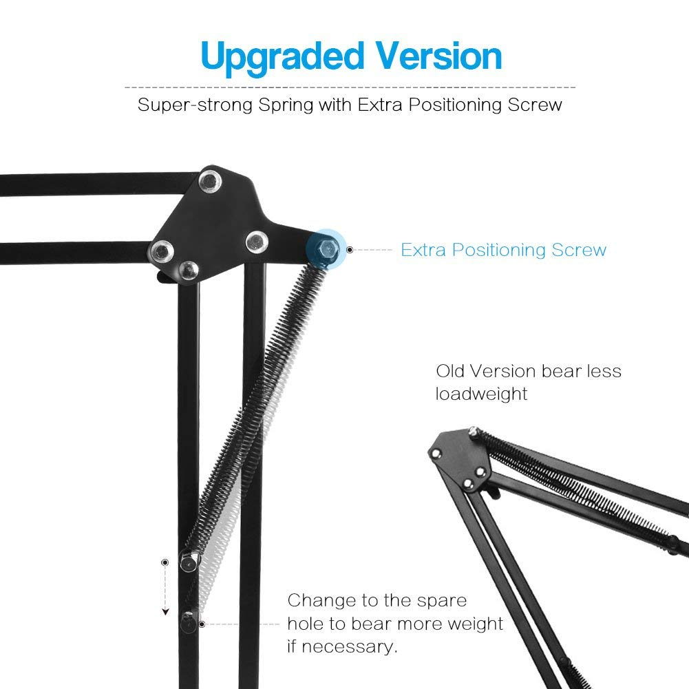 InnoGear Adjustable Microphone Suspension Boom Scissor Arm Stand, Max Load 1.5 KG Compact Mic Stand with Microphone Windscreen and Dual Layered Mic Pop Filter for Blue Snowball iCE and Blue Snowball by InnoGear (Image #4)