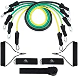 Coresteady Resistance Bands Set | 5 Premium Quality Resistance Tubes | Workout Bands for Crossfit | Stretch Mobility Exercise | Men & Women | Includes Door Anchor, Handles, Ankle Straps & Travel Bag