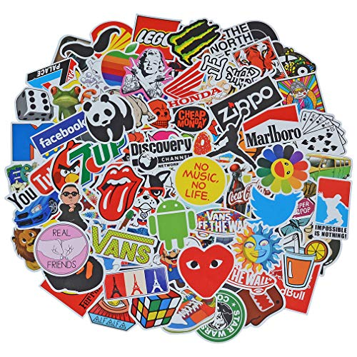 (100 Pieces Waterproof Vinyl Stickers for Personalize Laptop, Car, Helmet, Skateboard, Luggage Graffiti Decals (V - section))