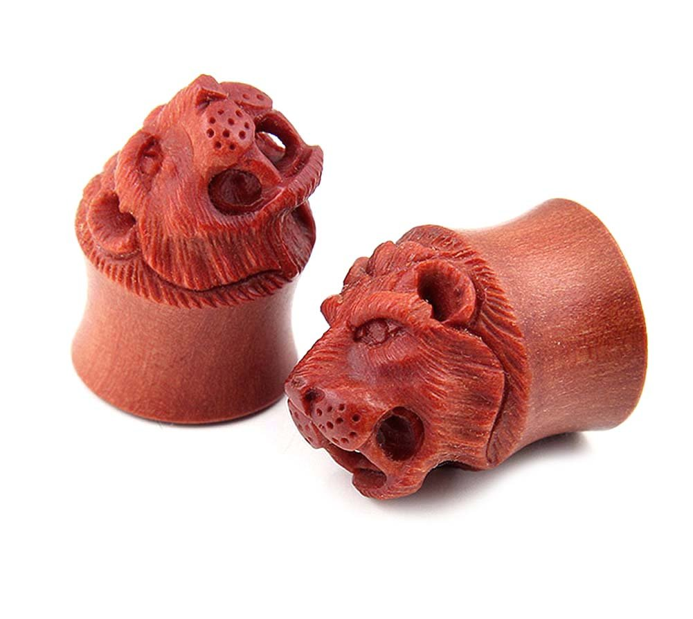 Pair 3D Lion Face Double Flare Organic Sawo Wood Ear Tunnel Plugs Gauges